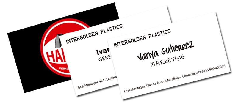 Diseño de tarjetas Intergolden Plastics