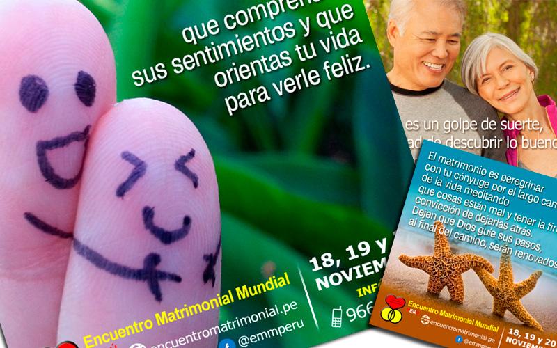 Diseño de flyers para el Encuentro Matrimonial en el Perú