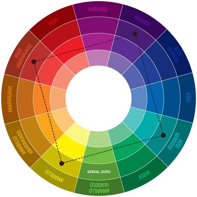 Combinación de colores propuesta por GENIAL - Esquema cuadrado Nro 6