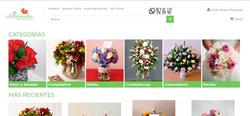 Astromelia Florería Online está en https://www.astromelia.pe