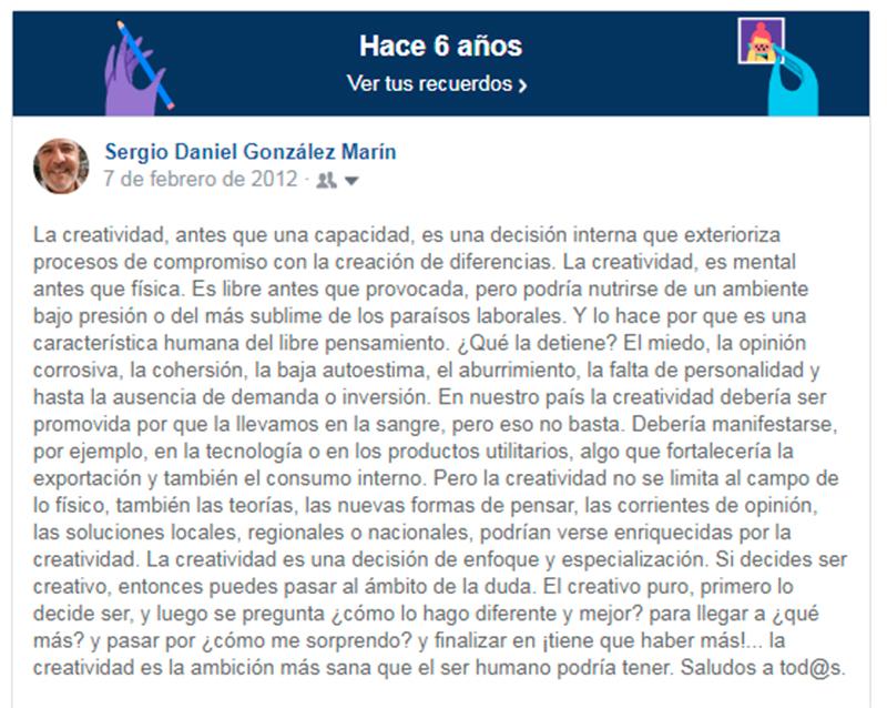 Post sobre Creatividad de Sergio Gonzalez en Facebook