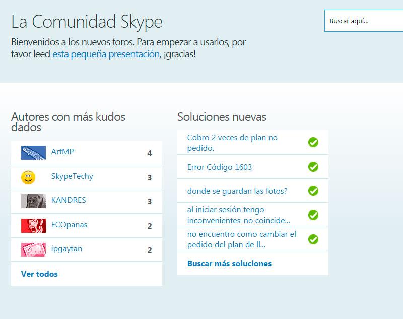 Skype dispone de foros bastante libres donde hemos visto quejas y soluciones.