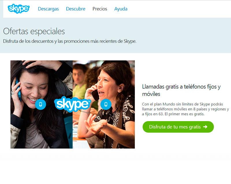 ¡Habla gratis 1 mes con Skype y prueba que tal funciona!