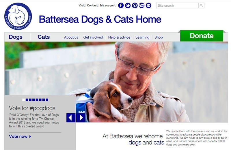Sitio Web del Hogar de Animales Batter Sea en Inglaterra