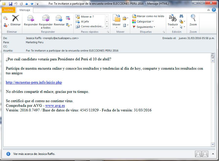 Alerta de seguridad - Email Solicitando participar en Encuesta