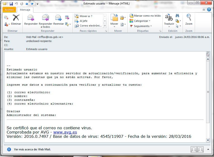 Alerta de seguridad - Email Solicitando datos