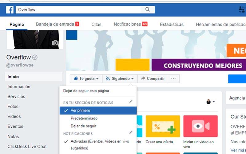 Como activar la opción Ver primero en la fan page de Overflow en facebook