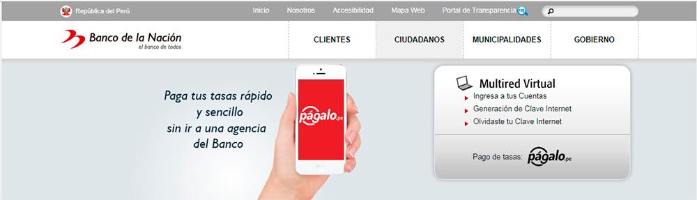 Banco de la Nación crea Págalo.pe para el abono de tasas online