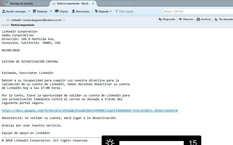 Correo electrónico recibido por usuarios de LInkedin