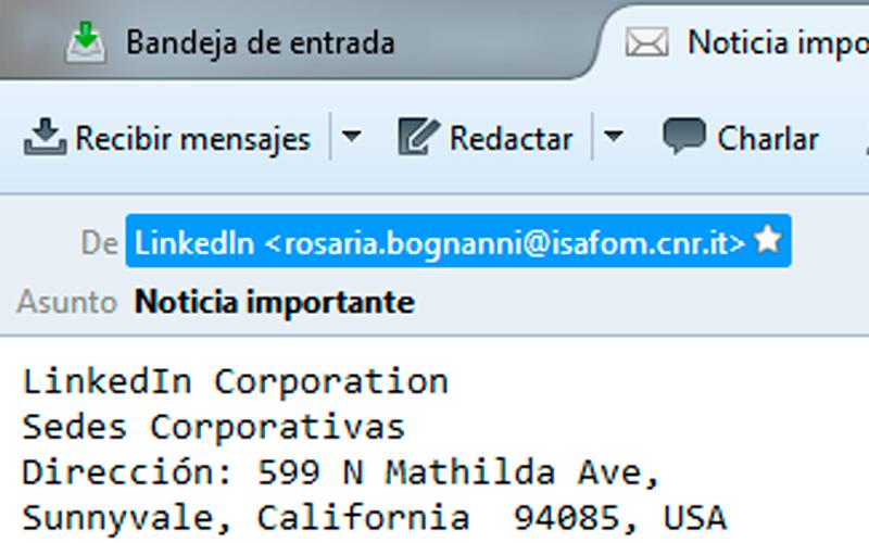 Emisor del mensaje de correo contra usuarios de Linkedin - Overflow.pe