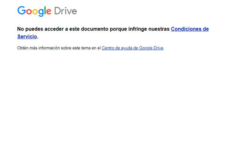 Bloqueo impuesto al link creado en Google DOCS - Overflow.pe