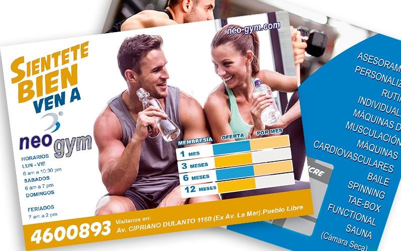 Diseño de Flyer Recepción Gimnasio Neo-Gym - Overflow.pe