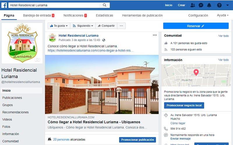 Página de Facebook - Hotel Residencial Luriama - Overflow.pe