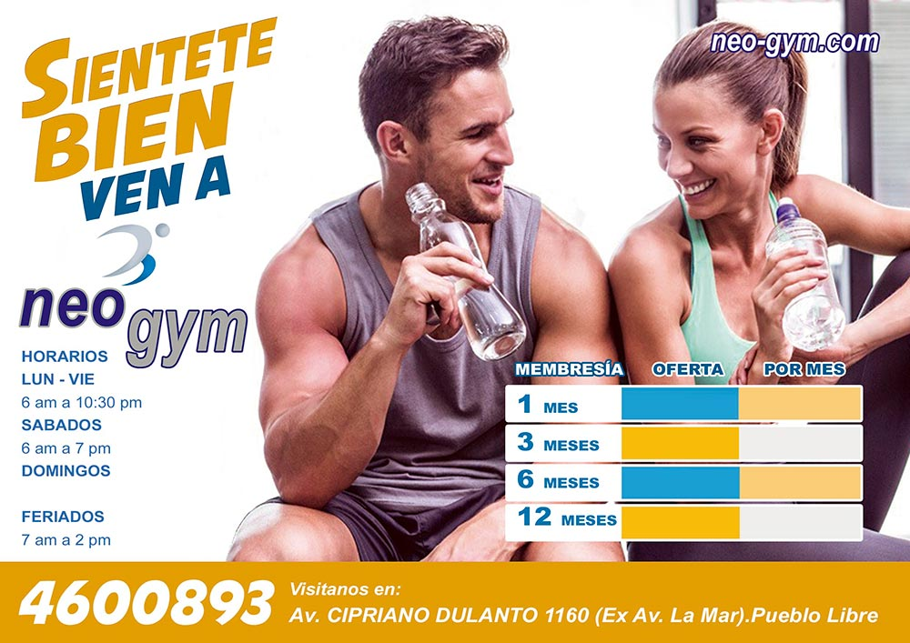 Flyer de atención al cliente Gimnasio Neo Gym - Overflow.pe