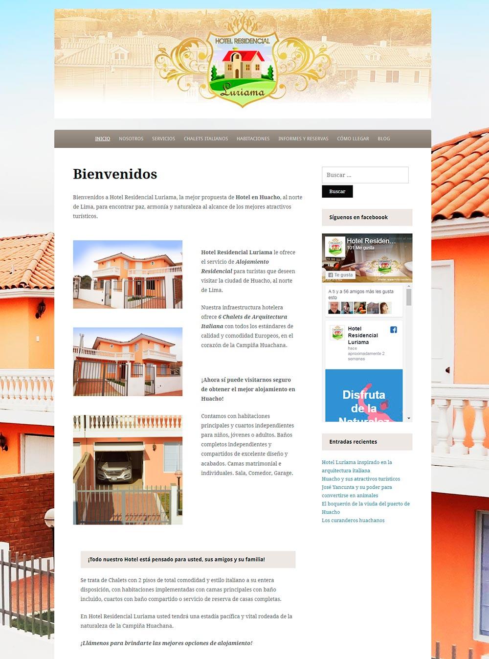 Front del Sitio Web del Hotel Residencial Luriama - Overflow.pe