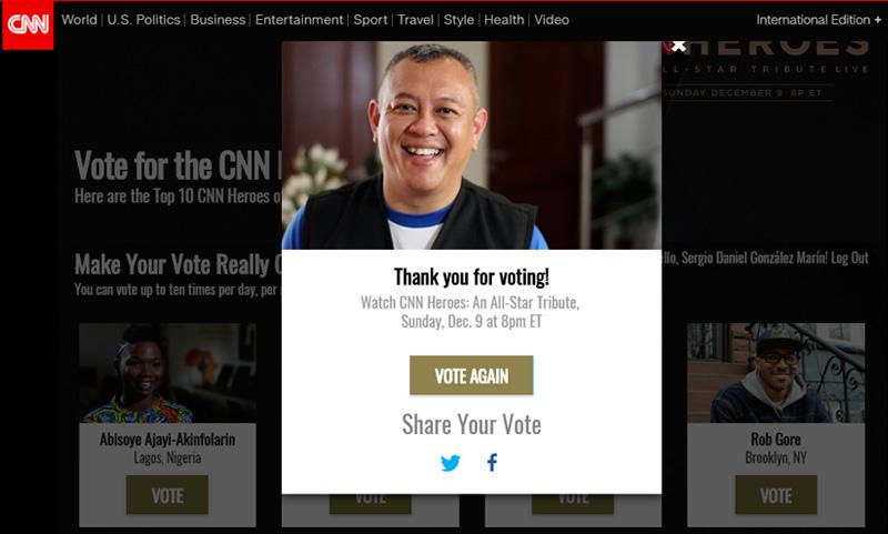 Voto emitido para Ricardo Pun-Chong finalista Héroes CNN
