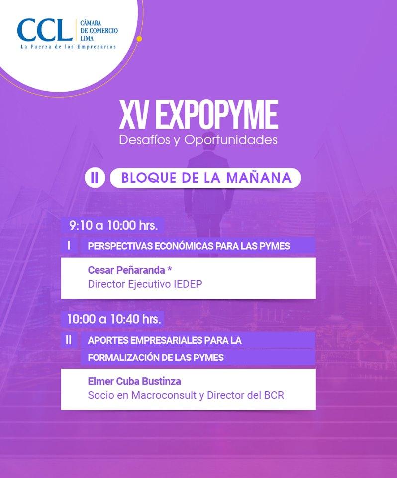 Cámara de Comercio de Lima inicia difusión de la XV Expopyme 2019 Bloque de Conferencias AM - Overflow.pe