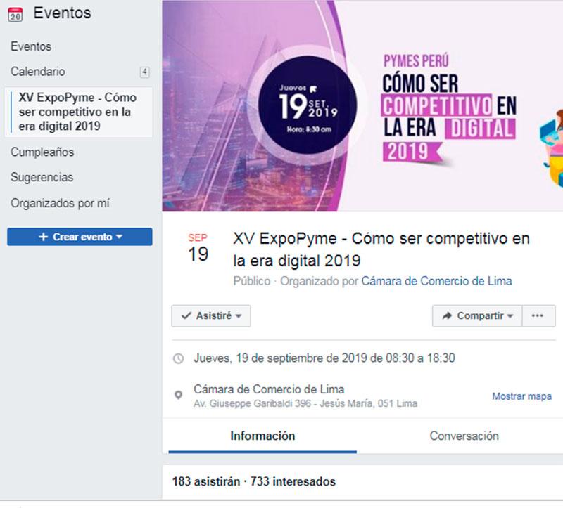 ExpoPyme 2019 de la Cámara de Comercio de Lima - Evento en facebook - Overflow.pe