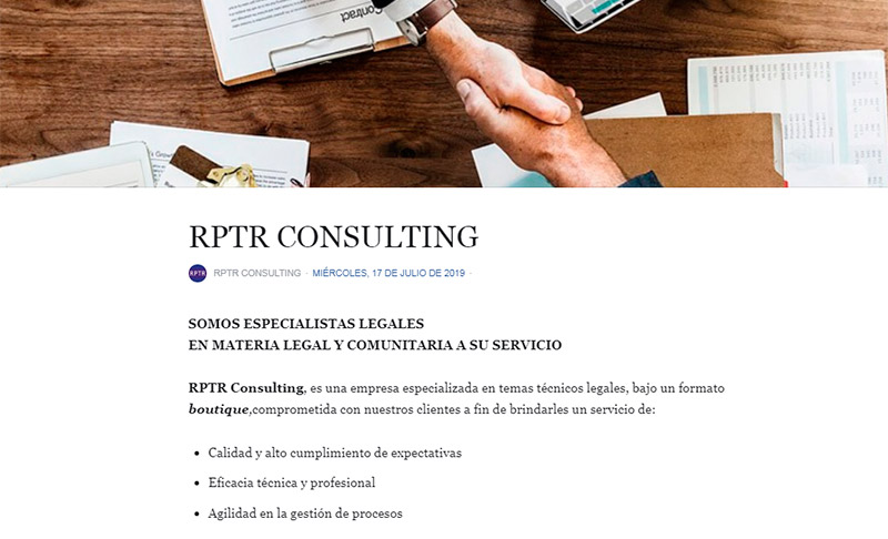 """Our History"" en la fan page de RPTR Consulting - Overflow.pe"