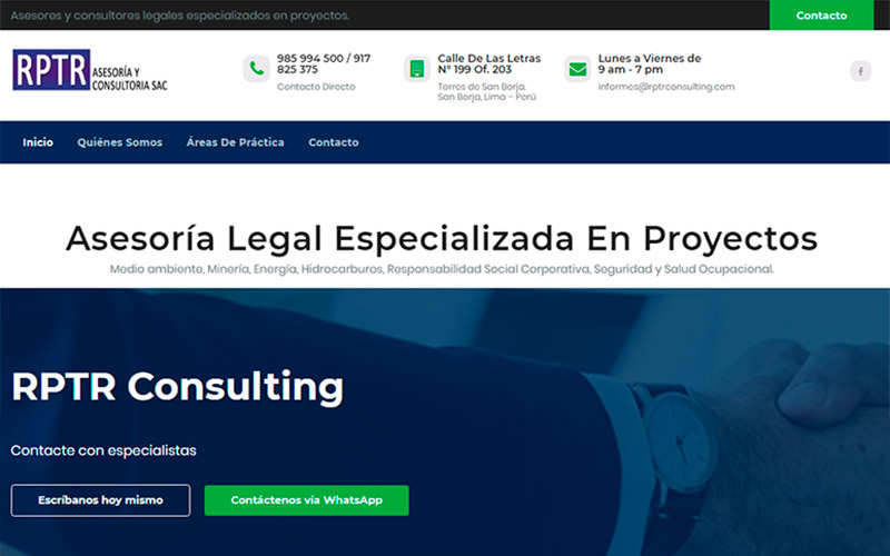 Desarrollo web y fan page de RPTR Consulting - Overflow.pe