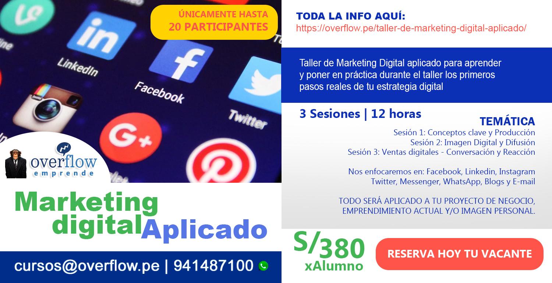 Flyer del Taller de Marketing Digital Aplicado Overflow Emprende