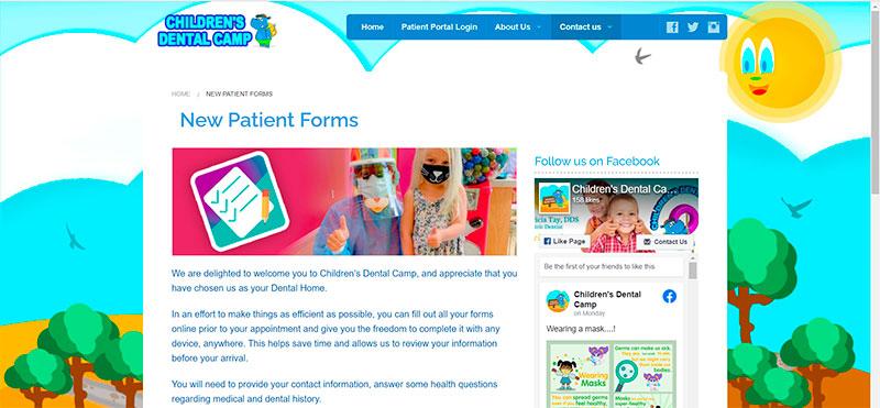 Formulario de Atención de Pacientes Nuevos en ChildrensDentalCamp.com