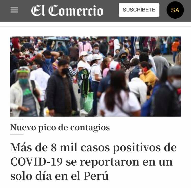 Incremento de casos de Covid-19 en el Perú (Imagen de El Comercio Perú)