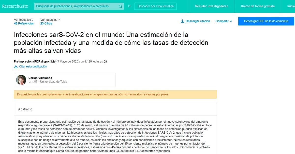 Investigación sobre el COVID por Carlos Villalobos (Researchgate.net)