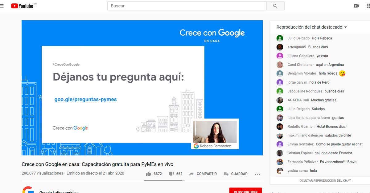 Crece con Google utiliza Webinars via Youtube además de otros formatos - Overflow.pe