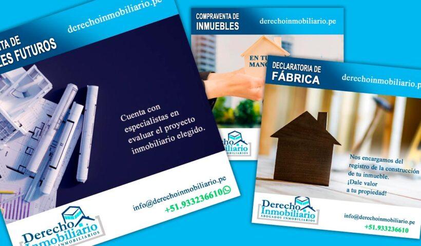 Flyers de difusión DerechoInmobiliario.pe - Portafolio Overflow.pe