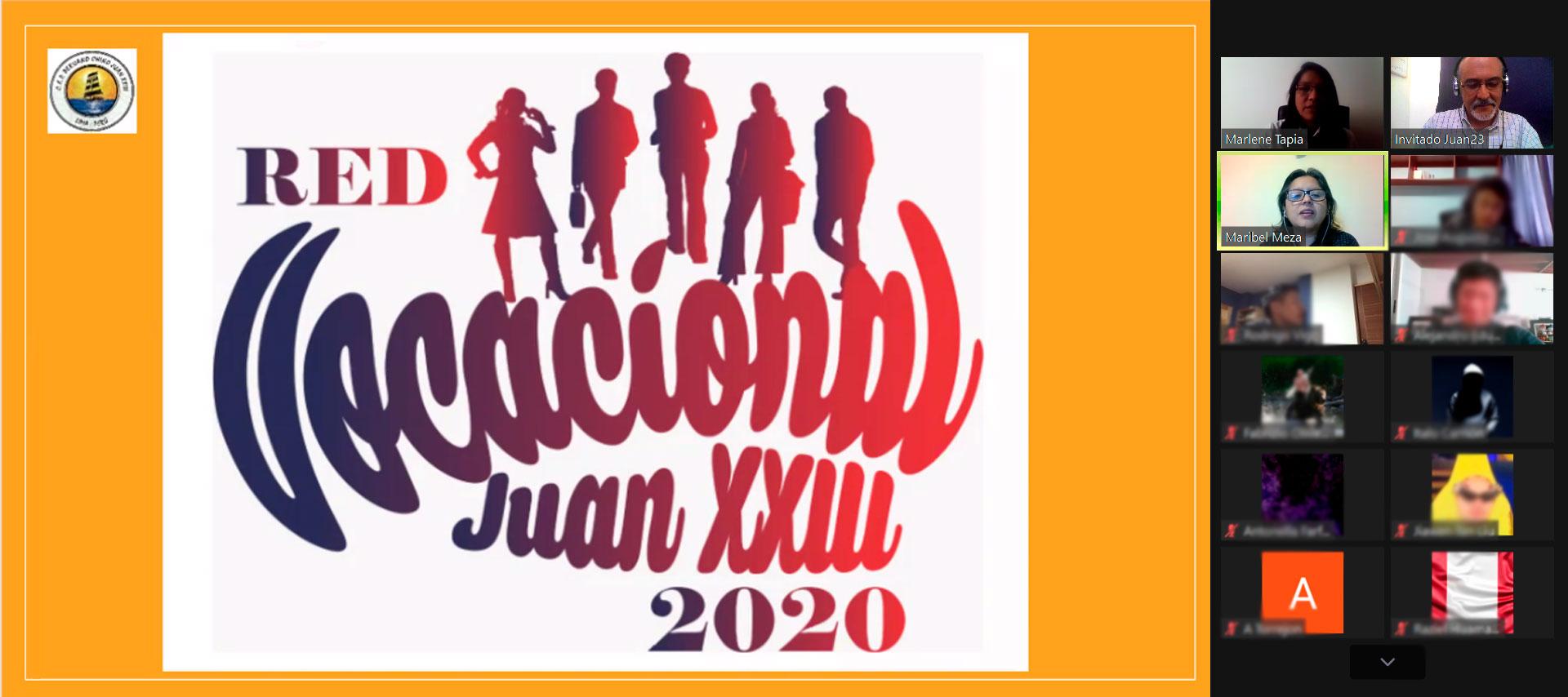 Inicio del Webinar para la Red Vocacional del Colegio Juan XXIII - Webinars Overflow.pe