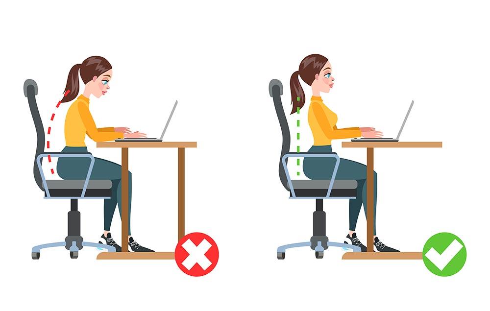 Ergonomía correcta e incorrecta al trabajar en la computadora - Overflow.pe