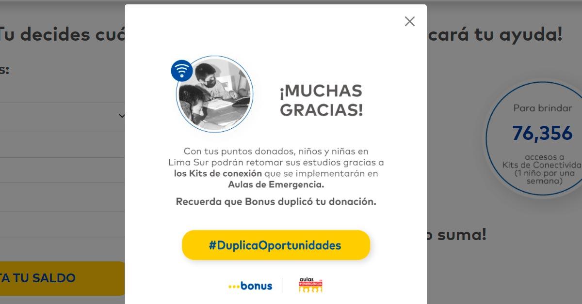 Donación Puntos Bonus para niños de Lima Sur