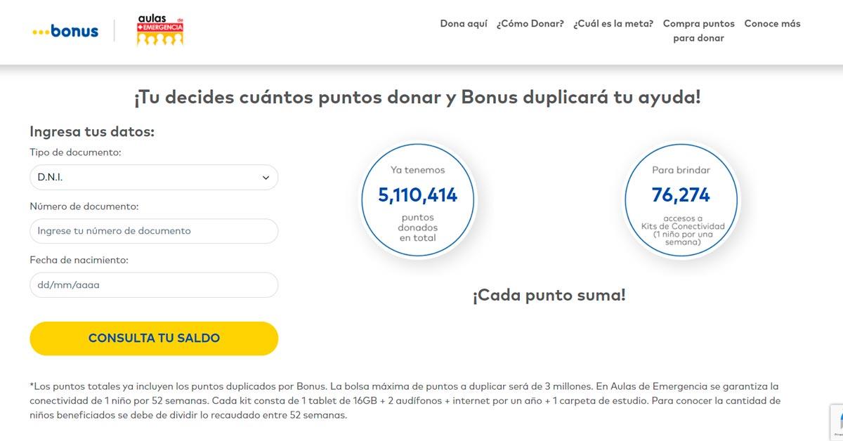 Tú decides cuántos Puntos Bonus donar