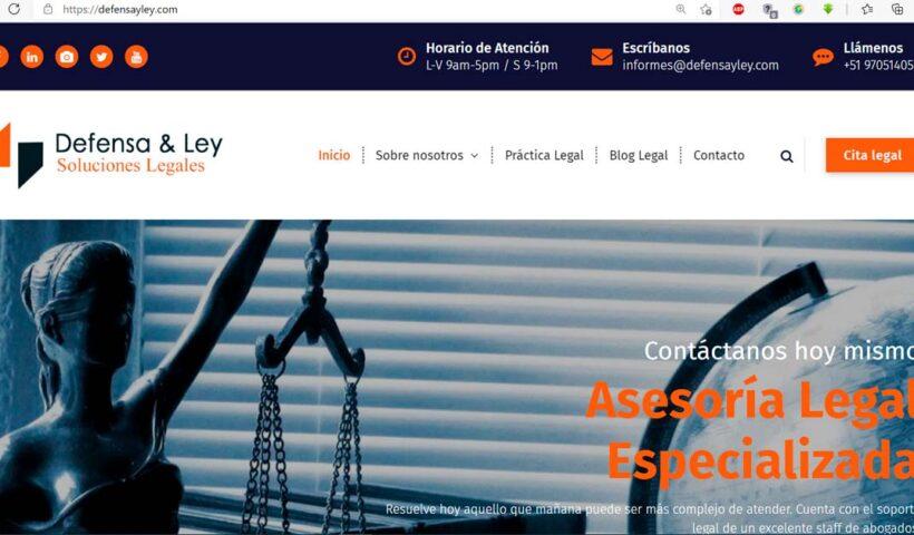 Desarrollo del sitio web DefensayLey.com