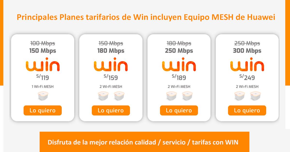 Principales tarifas WIN Internet ilimitado fibra óptica
