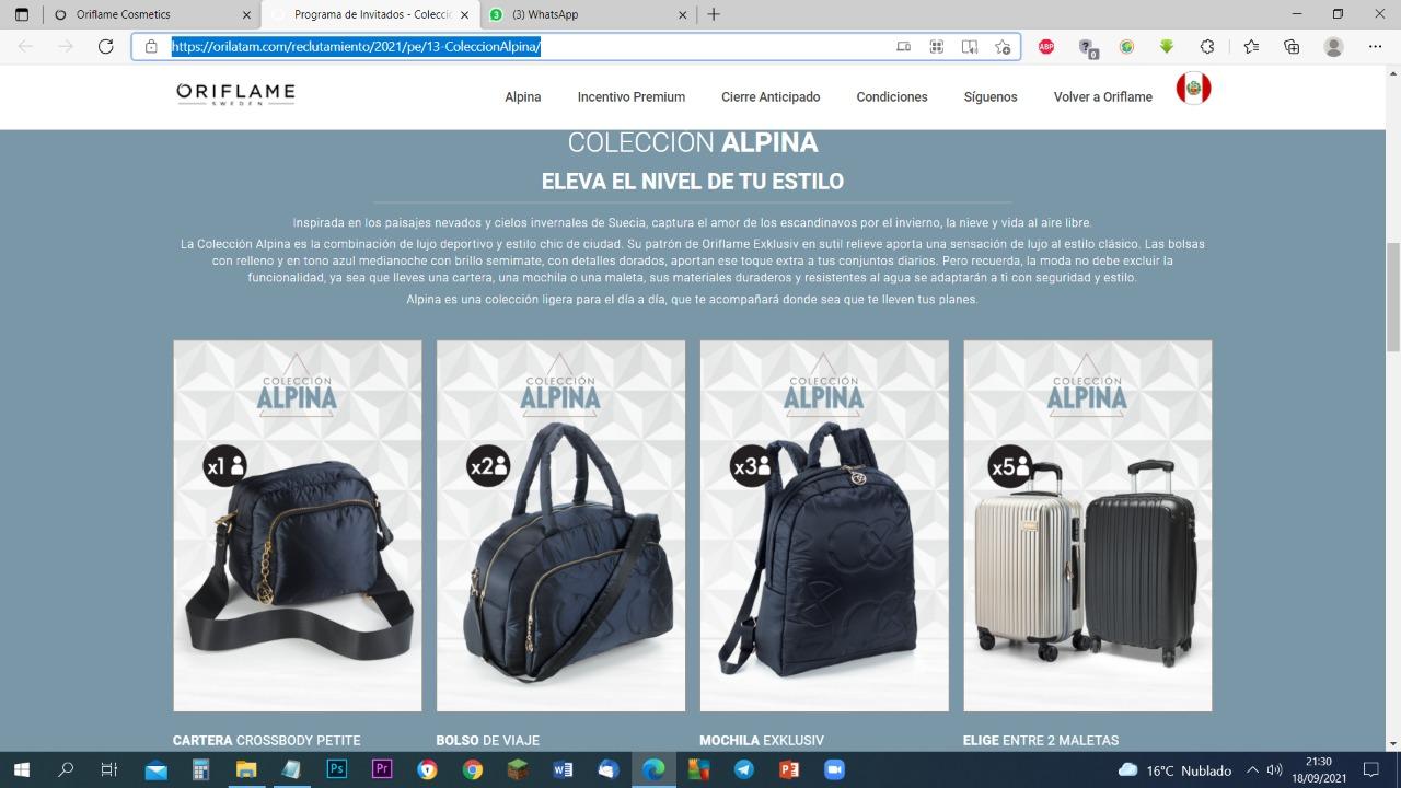 Colección Alpina para ganar por invitar a hacer Oriflame